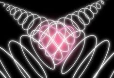 Forme au néon abstraite de coeur sur le fond foncé Conception pour la Saint-Valentin heureuse photos stock