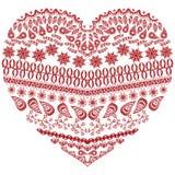 Forme aztèque de coeur de zentangle tribal avec les éléments floraux à disposition dessinant le style ornemental de dentelle dans Images stock