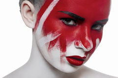Forme a beleza o modelo fêmea com composição ensanguentado do Dia das Bruxas Imagens de Stock Royalty Free