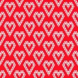 Forme bianche del cuore fatte dal modello senza cuciture dei triangoli su vec rosso illustrazione di stock