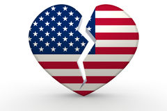 Forme blanche cassée de coeur avec le drapeau des Etats-Unis illustration stock