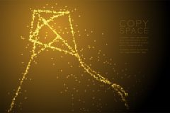 Forme brillante abstraite de Diamond Kite de profil sous convention astérisque, illustration de couleur d'or de conception de l'a Image stock