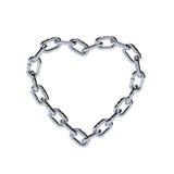 Forme à chaînes de coeur de cadre en métal de chrome Image libre de droits