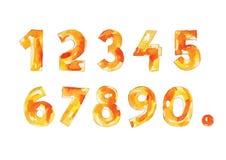 Forme chiazzata e misera decorative gialle e bianche di numeri di vettore dell'acquerello, di numeri, Fotografia Stock