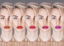 Forme a colagem o close-up louro da mulher bonita com colorido Fotos de Stock
