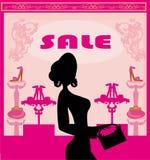 Forme a compra da menina na sapataria, cartão abstrato Imagem de Stock