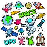 Forme crachás, remendos, etiquetas ajustadas com espaço, UFO, robôs e estrangeiros engraçados no PNF Art Comic Style ilustração do vetor