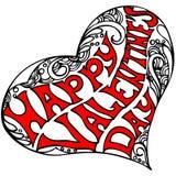 Forme décorative de coeur avec la Saint-Valentin heureuse d'inscription Photographie stock libre de droits