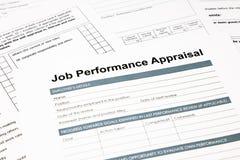 Forme d'évaluation des performances du travail pour des affaires Photo libre de droits