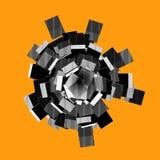 Forme 3d abstraite dans le modèle rayé sur l'orange Photos stock