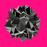 Forme 3d abstraite dans le modèle rayé sur le rose Image libre de droits