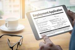 Forme d'accord d'application d'emploi, demande d'employmen Images stock