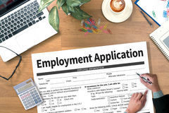 Forme d'accord d'application d'emploi, demande d'employmen images stock