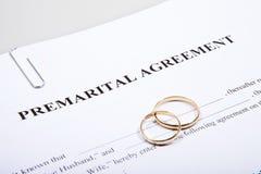 Forme d'accord prénuptial et deux anneaux de mariage Photos stock