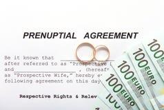 Forme d'accord prénuptial et deux anneaux de mariage Image libre de droits