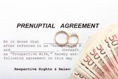 Forme d'accord prénuptial et deux anneaux de mariage Photos libres de droits