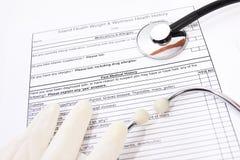 Forme d'antécédents médicaux Photos stock