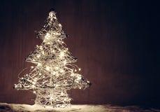 Forme d'arbre de Noël faite de lumières Images libres de droits