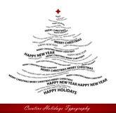 Forme d'arbre de Noël des mots Photo stock