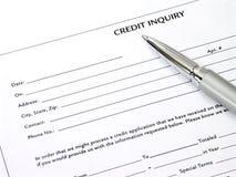 Forme d'enquête de crédit Image stock