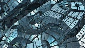 forme 3D géométrique abstraite des cubes bleus Images libres de droits