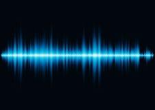 Forme d'onde saine bleue avec le filtre léger de grille de sortilège Images libres de droits
