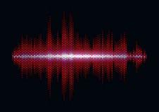 Forme d'onde saine rouge avec le filtre léger de grille de sortilège Image libre de droits