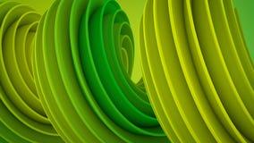 Forme 3D tordue jaune verte Image libre de droits