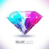 Forme d'un diamant de couleur d'isolement sur un blanc Image stock