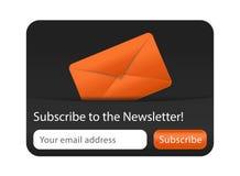 Forme de bulletin d'information avec l'enveloppe orange Photographie stock libre de droits