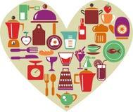 Forme de coeur avec des articles de cuisine Image libre de droits