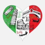Forme de coeur avec des symboles de l'Italie illustration libre de droits