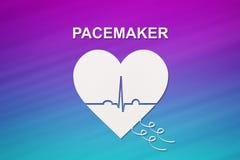 Forme de coeur avec l'échocardiogramme et le texte de STIMULATEUR Concept de cardiologie Photos stock