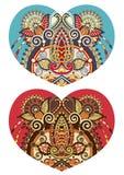 Forme de coeur avec la conception florale ethnique de Paisley pour le Saint Valentin Images libres de droits