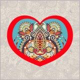 Forme de coeur avec la conception florale ethnique de Paisley pour le Saint Valentin, Photo stock