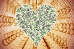 Forme de coeur avec le billet d'un dollar illustration de vecteur