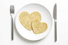 Forme de coeur d'amour de crêpe Image libre de droits