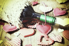 Forme de coeur d'amour de vin Photo libre de droits