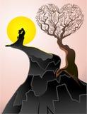 Forme de coeur d'amour et d'arbre Illustration Stock