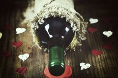 Forme de coeur d'amour de vin Photo libre de droits