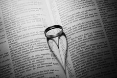 Forme de coeur d'anneau créée sur un livre Photo libre de droits