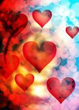 Forme de coeur dans l'espace chromatique, fond graphique abstrait de collage Photos libres de droits