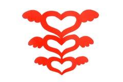 Forme de coeur de coupure de papier avec l'aile Image libre de droits