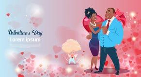Forme de coeur de cupidon d'amour de couples d'amants de Valentine Day Gift Card Holiday Photos stock