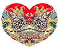 Forme de coeur de dentelle avec la conception florale ethnique de Paisley pour Valentine Photo stock