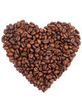 Forme de coeur de grain de café Photo stock