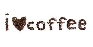 Forme de coeur de grain de café sur le blanc d'isolement Image libre de droits