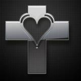 Forme de coeur de Jesus Cross en métal Photographie stock libre de droits