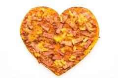 Forme de coeur de pizza Photos libres de droits