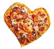 Forme de coeur de pizza d'isolement au-dessus du fond blanc Photo libre de droits
